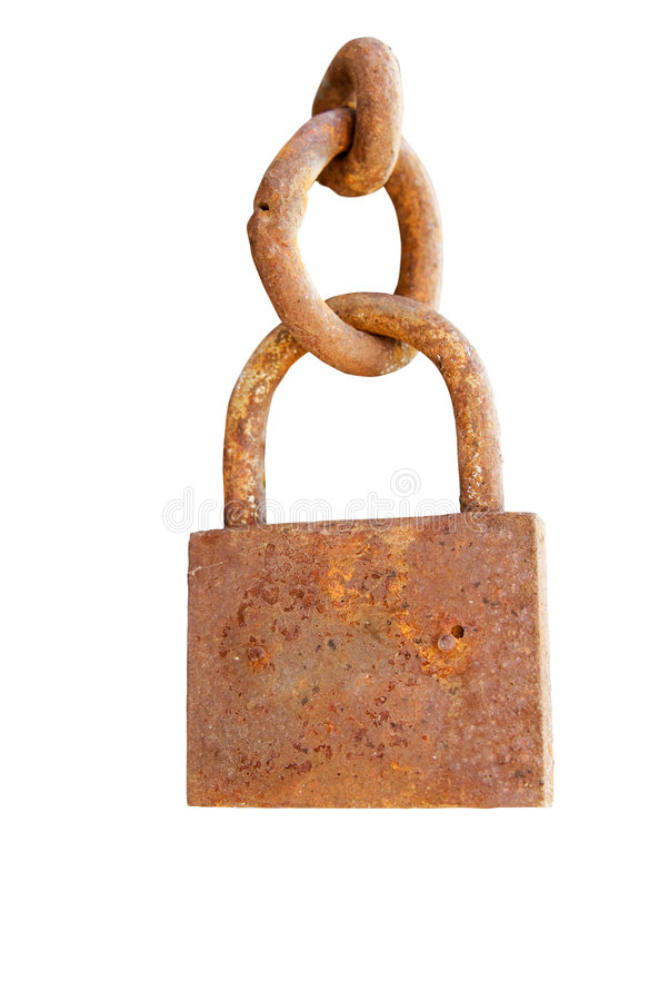 Lucchetto arrugginito del metallo con la catena isolata sopra bianco immagine stock libera da diritti