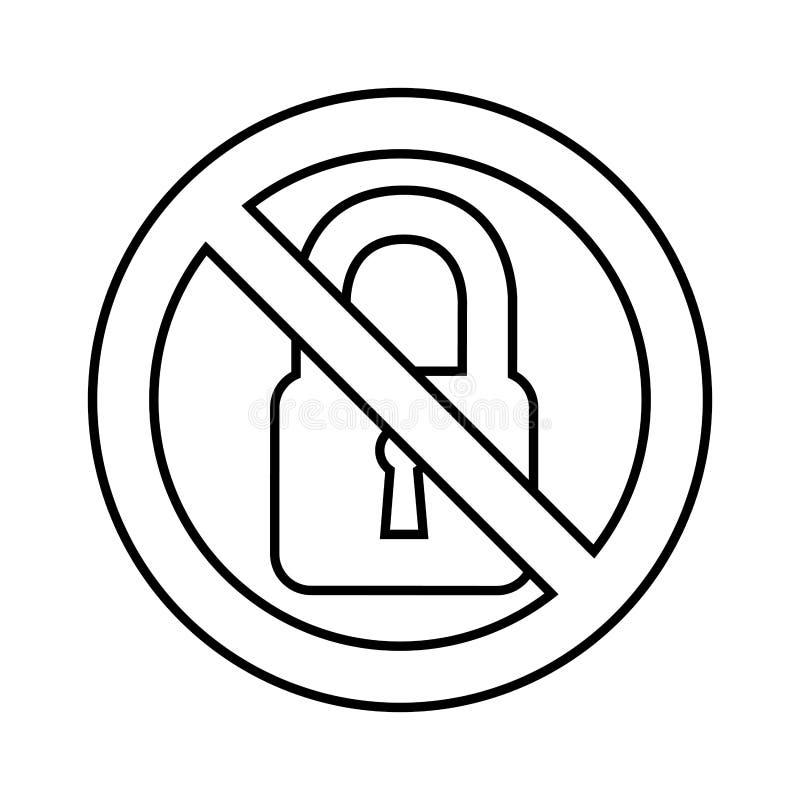Lucchetto con il segno negato royalty illustrazione gratis