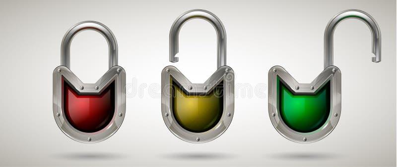 Lucchetto d'acciaio protettivo della guardia con gli occhiali di protezione Stile realistico Fondo isolato royalty illustrazione gratis