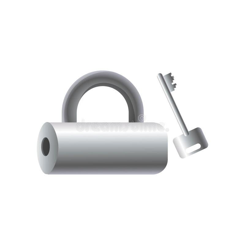 Lucchetto d'argento del tubo del metallo con la chiave d'acciaio, oggetto di sicurezza illustrazione vettoriale