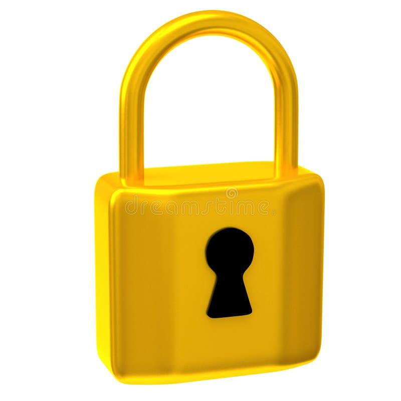 Lucchetto dorato 3d illustrazione di stock