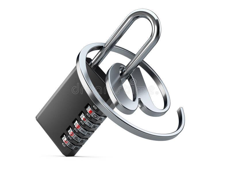 Lucchetto nero di combinazione con il simbolo di Internet e di connessione su un wh illustrazione di stock