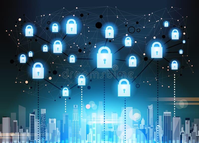 Lucchetto sopra il concetto di segretezza di protezione dei dati del ciyscape GDPR Fondo cyber della rete di sicurezza protezione royalty illustrazione gratis