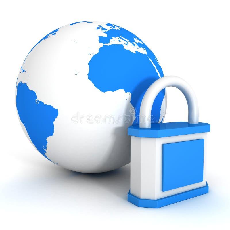 Lucchetto sopra il globo blu del pianeta. concetto di sicurezza illustrazione vettoriale