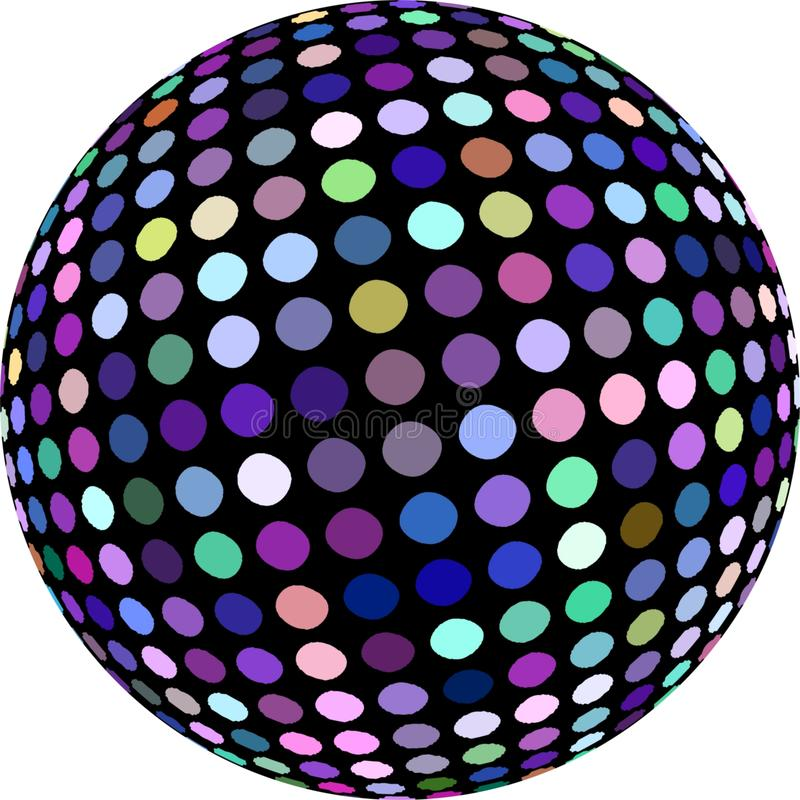 Luccichio luminoso verde del mosaico di rosa blu lilla della palla 3d della discoteca Icona creativa astratta di progettazione su royalty illustrazione gratis