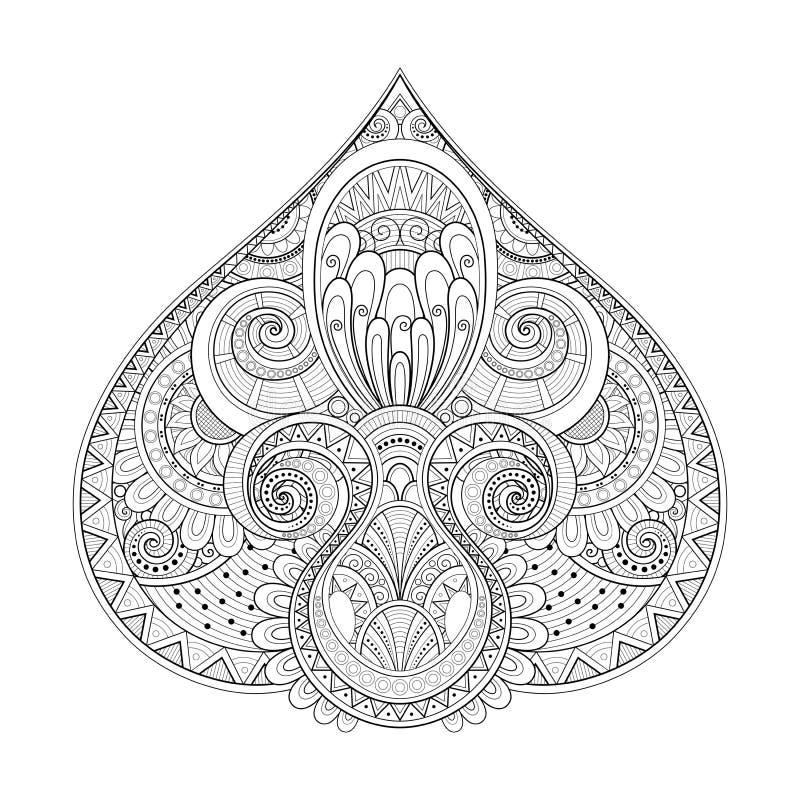 Luccio decorativo monocromatico, elemento astratto di progettazione illustrazione vettoriale