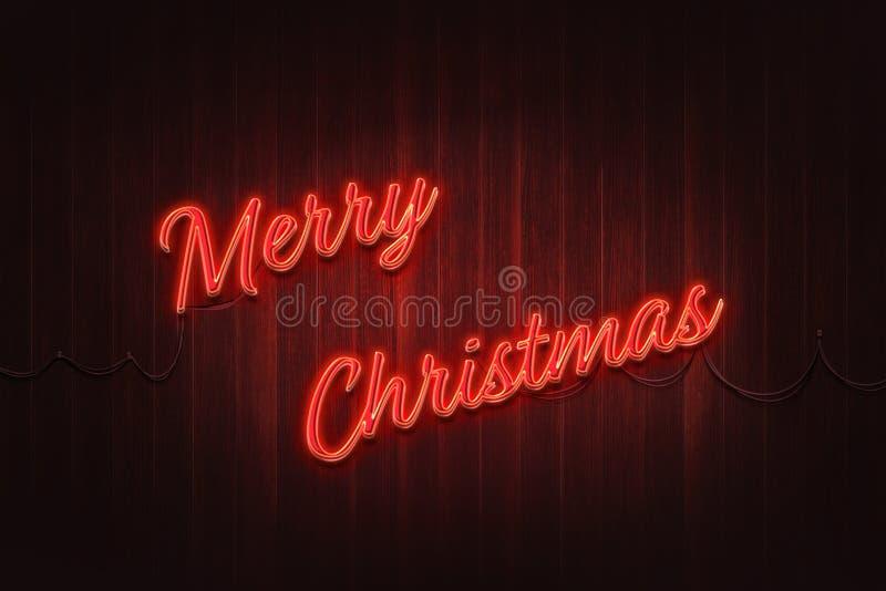 Luce al neon di Buon Natale sulla parete di legno immagini stock libere da diritti