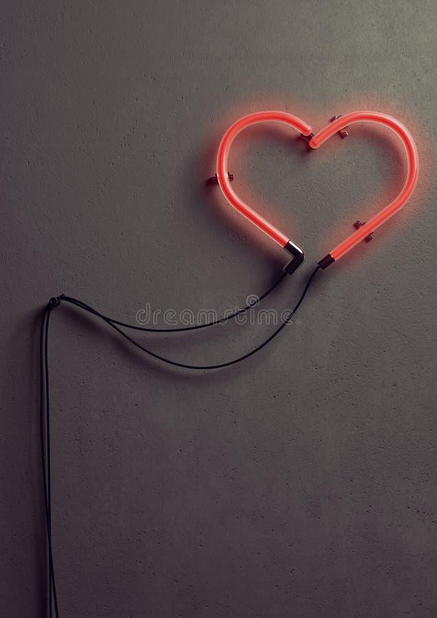 Luce al neon a forma di del cuore fotografie stock libere da diritti