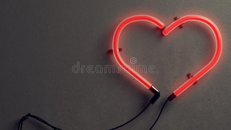 Luce al neon a forma di del cuore immagini stock