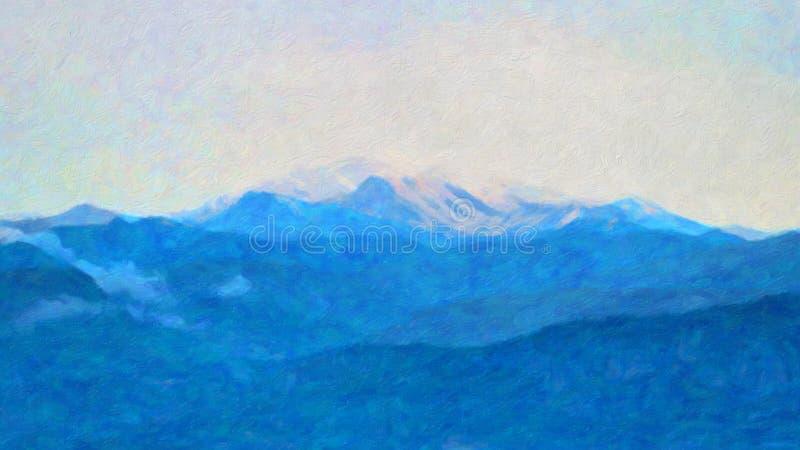 Luce blu di sera tardi sul picco di montagna ricoperto neve, Grecia immagine stock libera da diritti