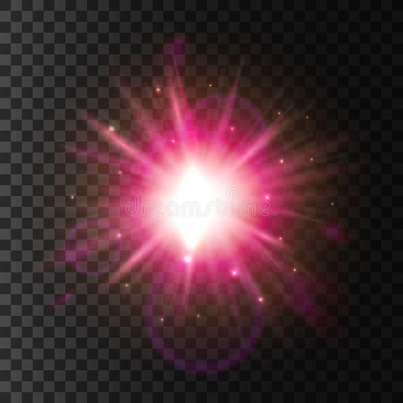 Luce brillante della stella Effetto scintillante del chiarore della lente illustrazione di stock