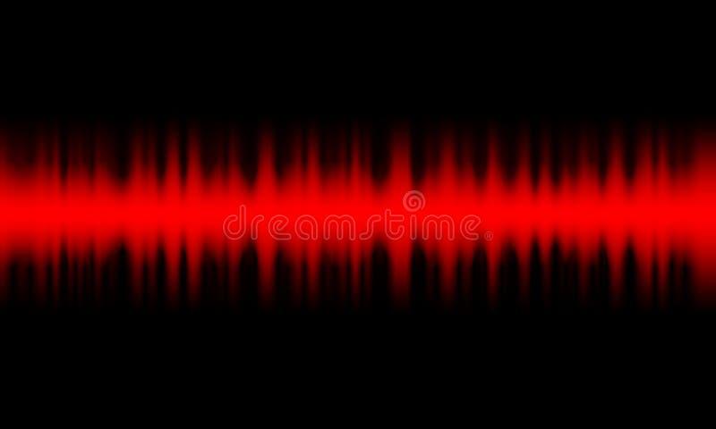 Luce d'oscillazione rossa di incandescenza delle onde sonore di Digital, fondo astratto di tecnologia illustrazione vettoriale