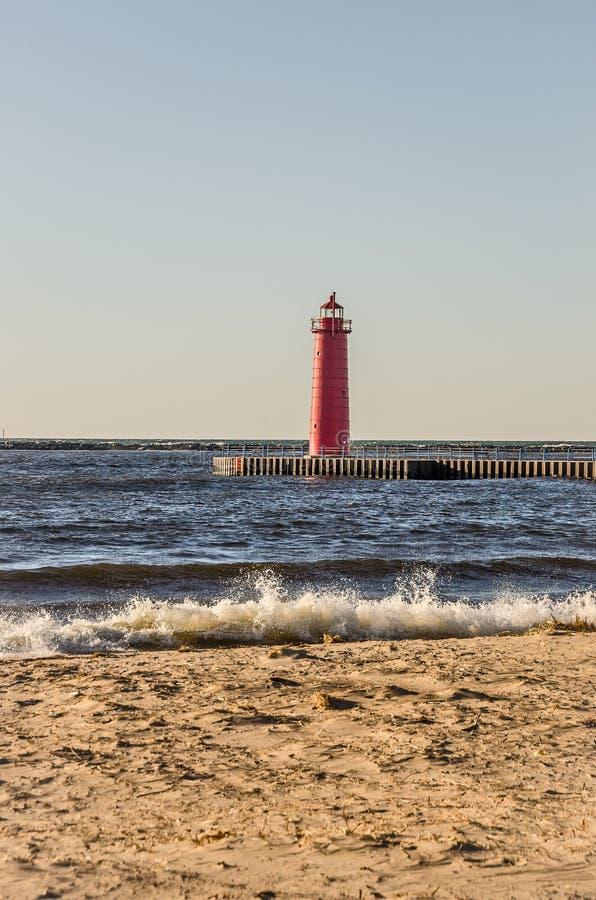 Luce del sud della testata del molo di Muskegon fotografia stock