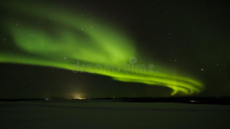 Luce dell'aurora in Lapponia finlandese immagini stock