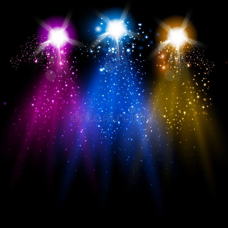 Luce della discoteca e scintillare illustrazione vettoriale