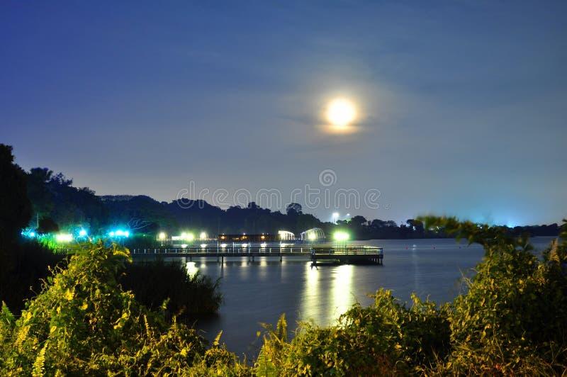 Luce della luna con la riflessione sull'acqua fotografia stock libera da diritti