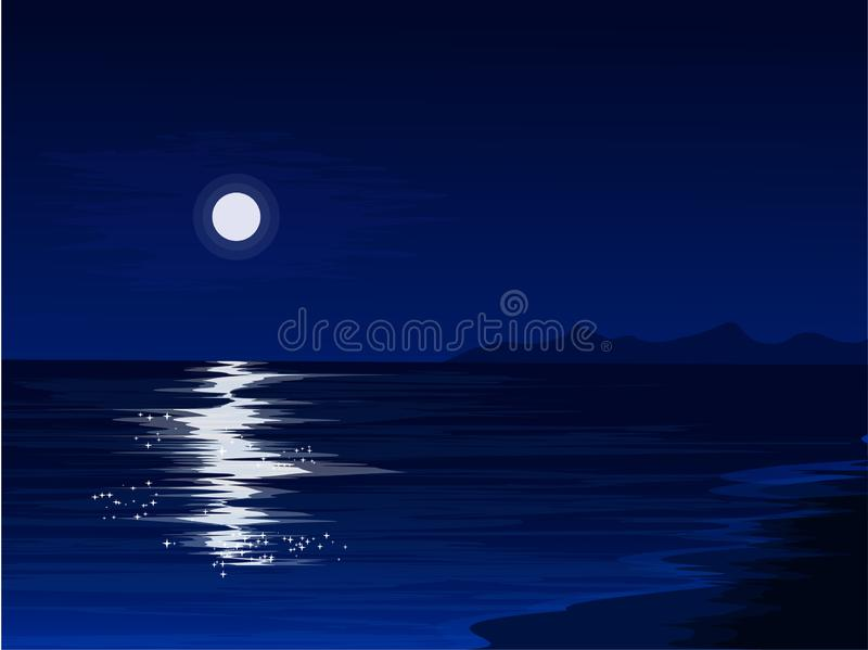 Luce della luna ed oceano illustrazione vettoriale
