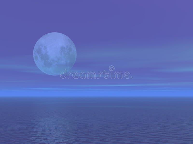 Luce della luna sopra il mare dell'oceano illustrazione di stock
