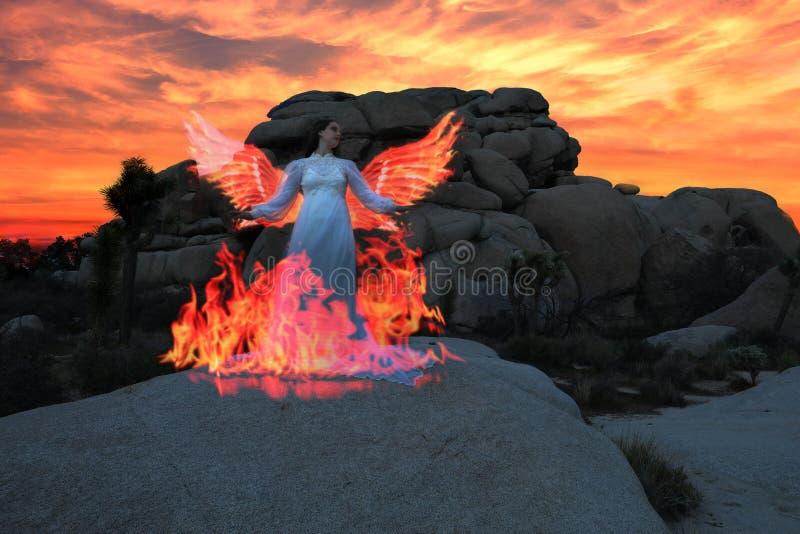 Luce della persona dipinta nel deserto sotto il cielo notturno immagini stock libere da diritti