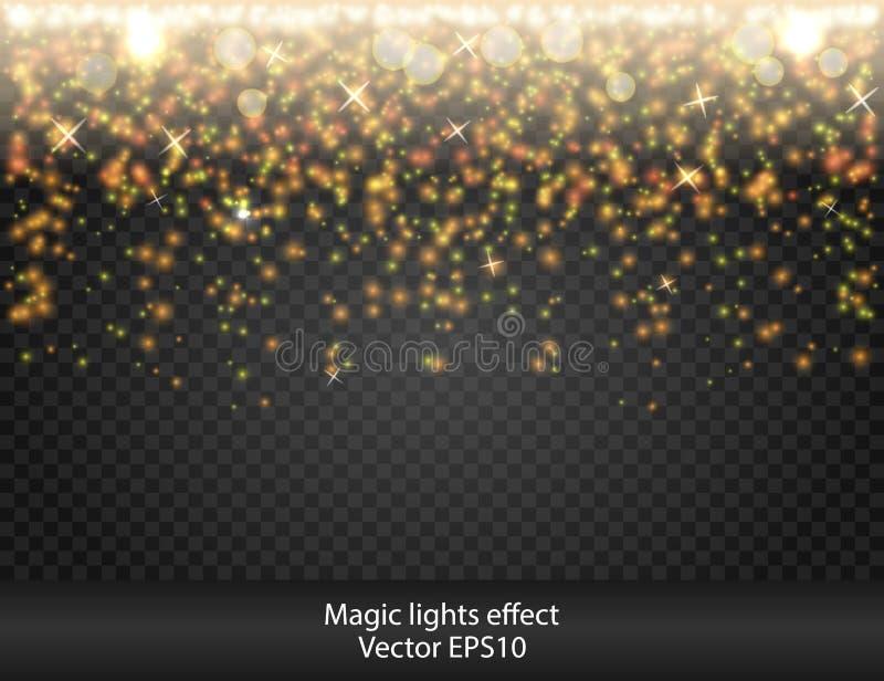 Luce di effetto speciale di incandescenza, chiarore, stella firework scintilla Realmente trasparenza illustrazione di stock