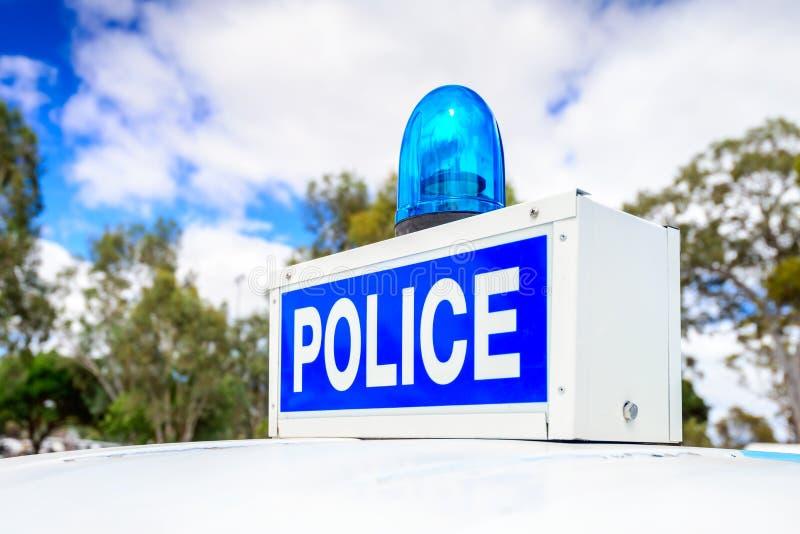 Luce di emergenza blu della polizia d'annata fotografia stock libera da diritti