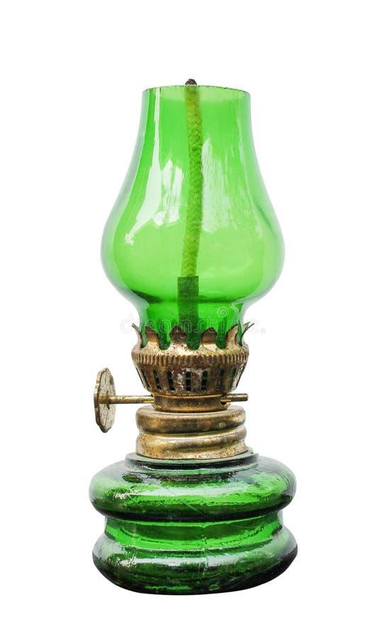 Luce di una lampada di vetro verde antica con i vecchi modelli a strisce bianchi dell'oro e dello stoppino isolati su fondo bianc immagine stock libera da diritti