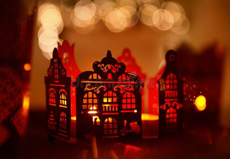 Luce domestica della candela della decorazione, decorazione della Camera di illuminazione di Natale fotografie stock
