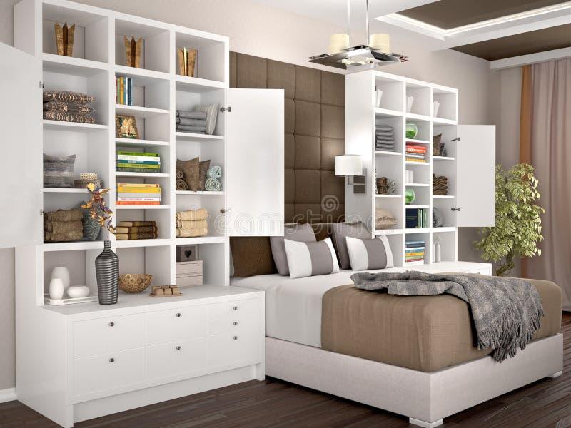 Luce e camera da letto moderna accogliente con gli armadi a giorno illustrazione di stock