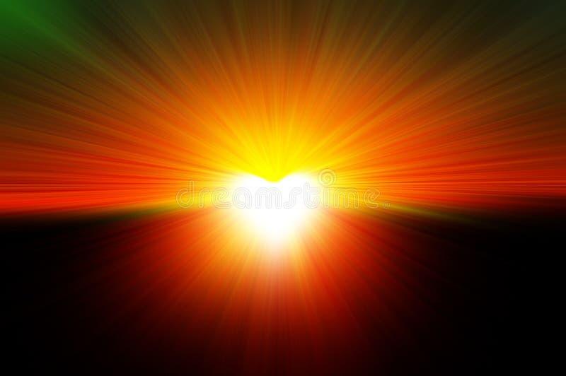 Luce intensa sotto forma di un cuore, coeur de lumière con l'esplosione di luce illustrazione di stock