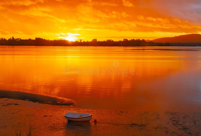 Luce maestosa di alba il cielo nelle tonalità dorate fotografia stock libera da diritti