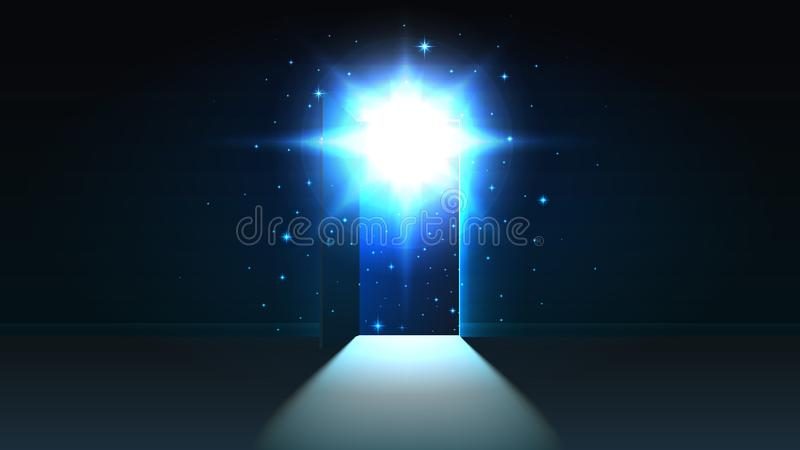 Luce mistica dalla porta aperta di una stanza scura, spazio aperto, universo, fondo, uscita d'ardore astratta di scoperta, derisi royalty illustrazione gratis