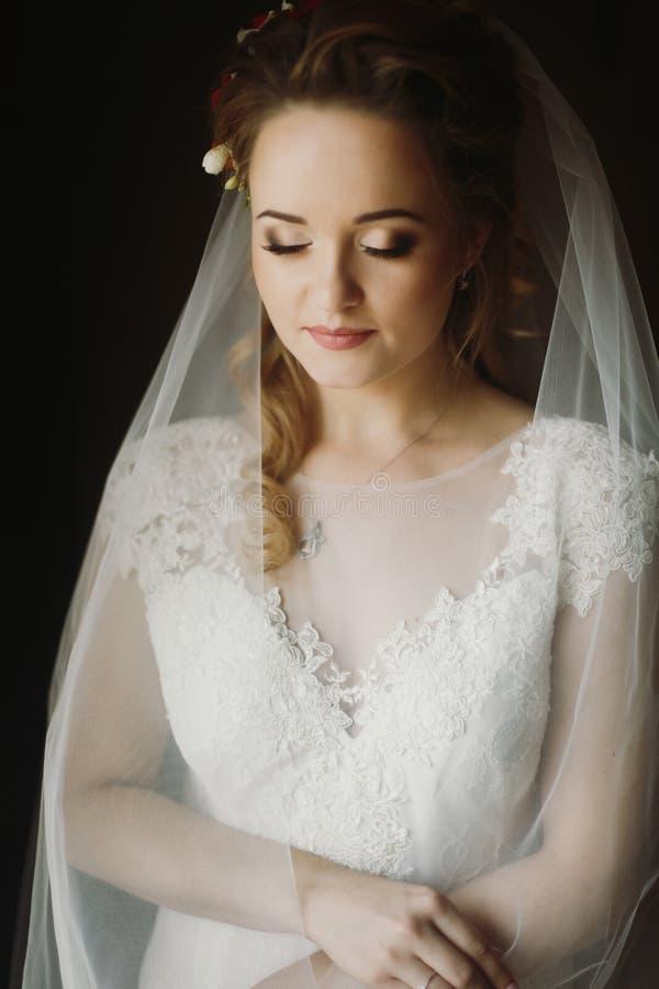 Luce morbida elegante del ritratto della bella sposa di mattina sens immagine stock