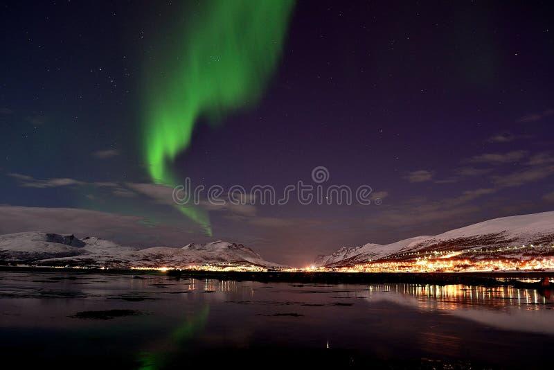 Luce nordica in Tromso fotografie stock libere da diritti