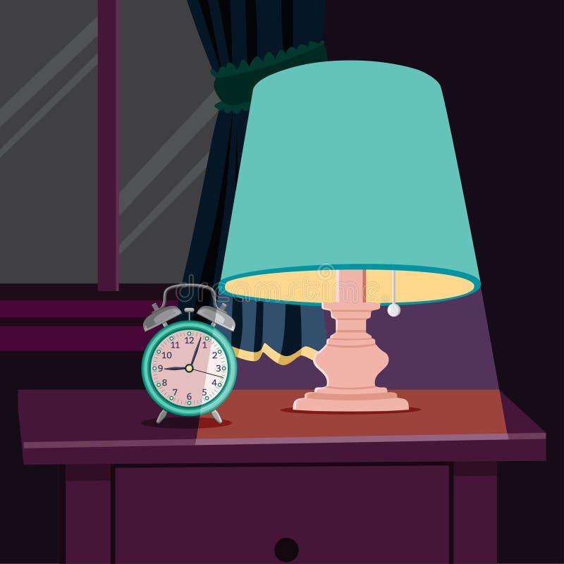 Luce notturna e sveglia sul comodino con fondo Windows e l'illustrazione di vettore delle tende illustrazione vettoriale