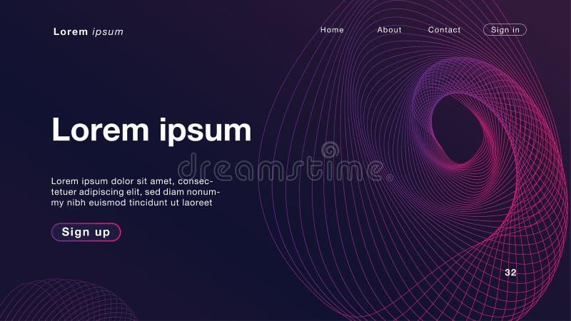 Luce porpora delle onde lineari dinamiche dell'estratto del fondo per il homepage illustrazione di stock
