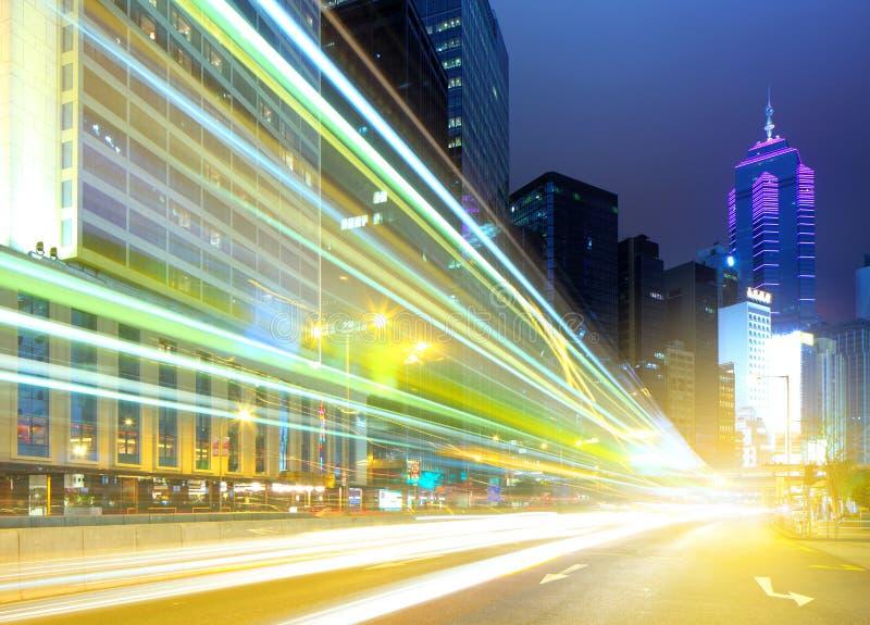 Luce rapida dell'automobile in Hong Kong fotografie stock libere da diritti