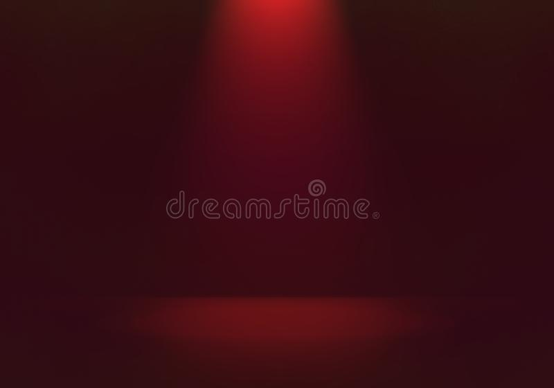 Luce rossa con illustrazione di sfondo dell'ombra nera, luce leggera sul palco o in una stanza con spazio vuoto per il prodotto illustrazione vettoriale