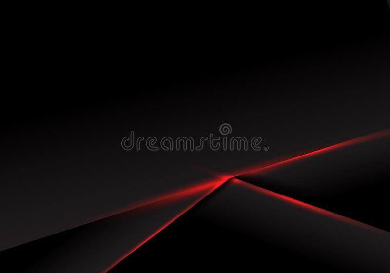 Luce rossa metallica della disposizione della struttura del nero del modello dell'estratto su fondo scuro Concetto futuristico di illustrazione vettoriale