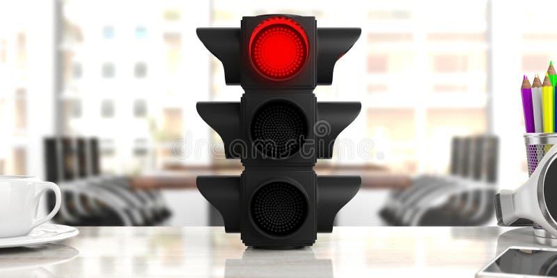 Luce rossa Semaforo, segnale di arresto rosso, sulla scrivania, fondo di affari illustrazione 3D illustrazione vettoriale