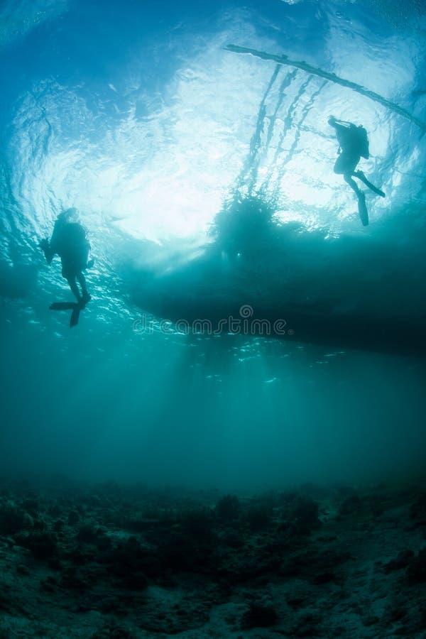 Luce solare che profila i subaquei immagini stock