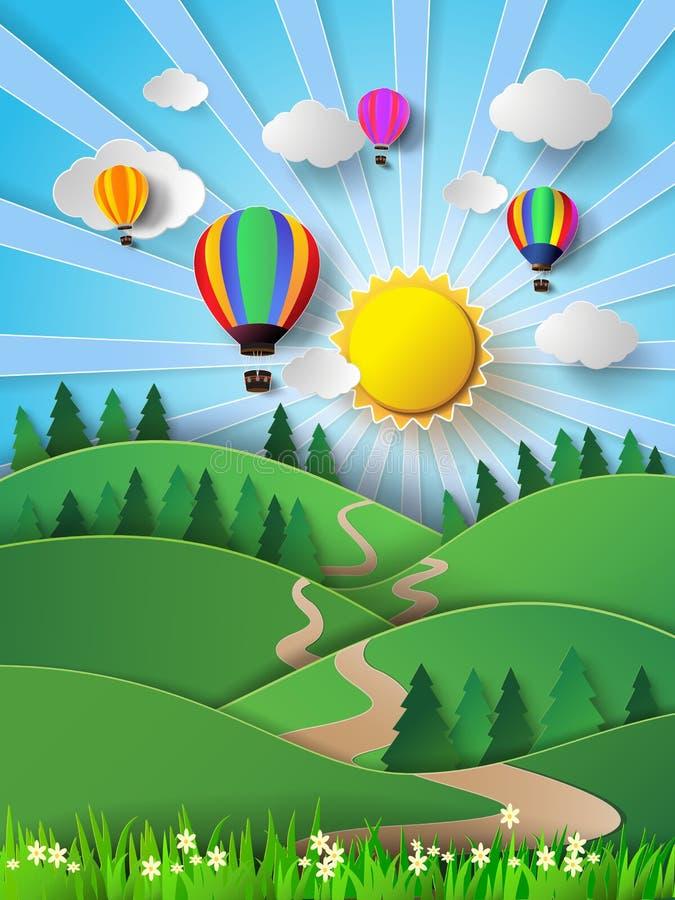 Luce solare dell'illustrazione di vettore sulla nuvola con la mongolfiera royalty illustrazione gratis
