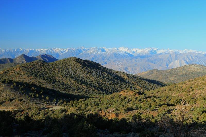 Luce sopra le montagne bianche, California di primo mattino immagini stock