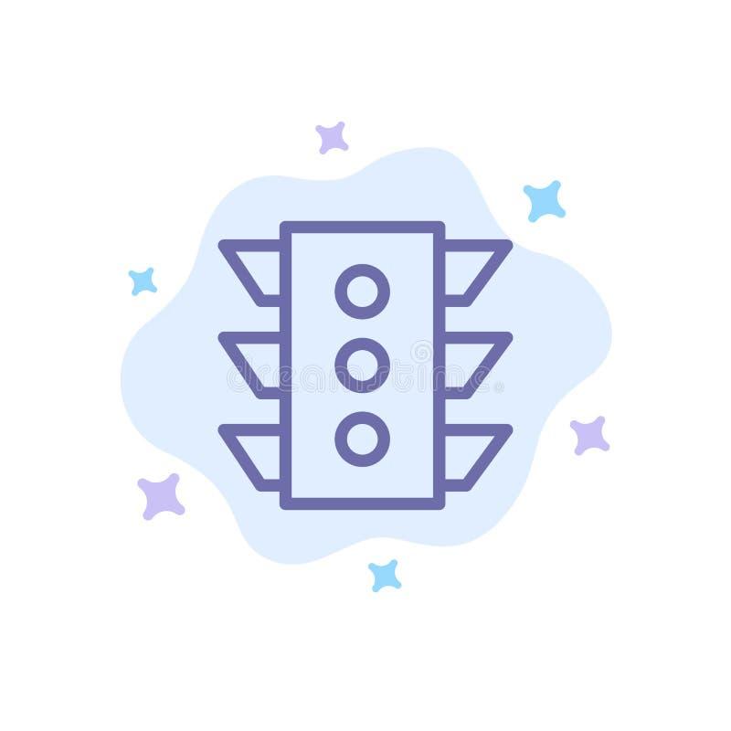 Luce, traffico, segnale, navigazione, icona blu di regola sul fondo astratto della nuvola illustrazione vettoriale