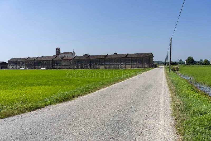 Lucedio, historisch landbouwbedrijf dichtbij Bercelli, Italië, stock afbeelding