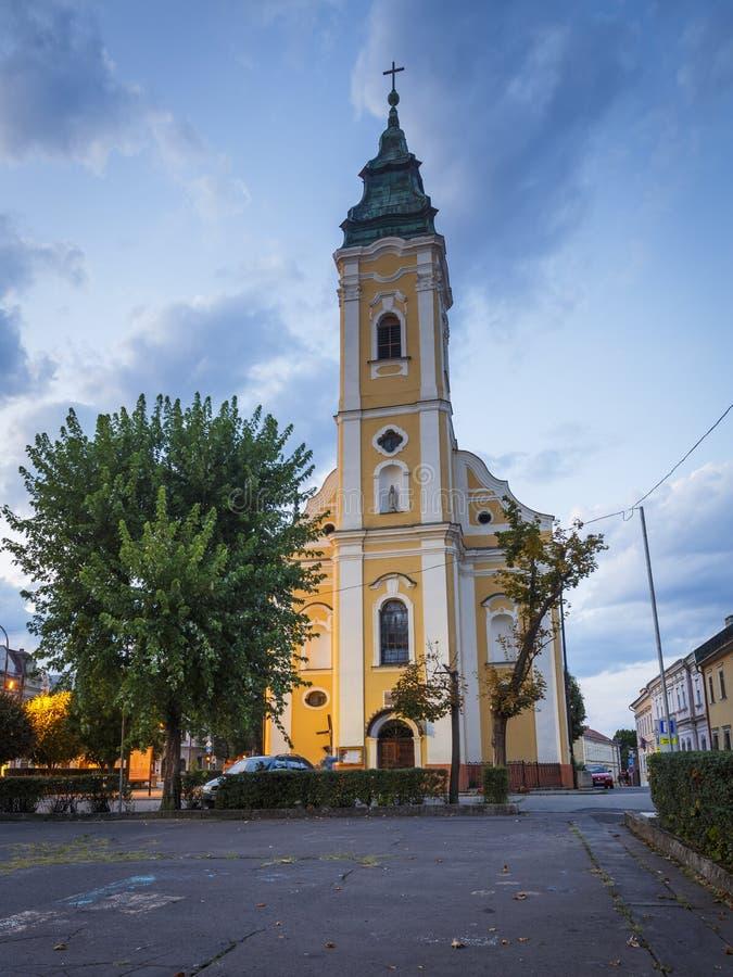 Lucenec, Slovakia. Lucenec, Slovakia - August 18, 2018: Church in the main square of Lucenec, Slovakia royalty free stock photography
