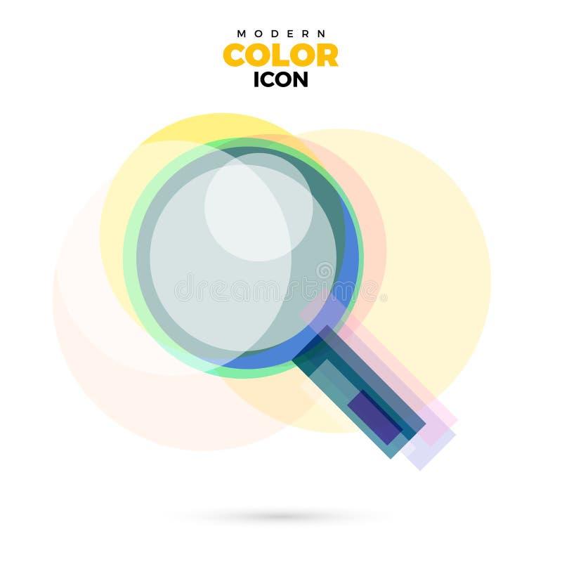 Lucent-Farbikone des Zoomvergrößerungsglases moderne für Netz Neues kreatives Designsymbol lizenzfreie abbildung
