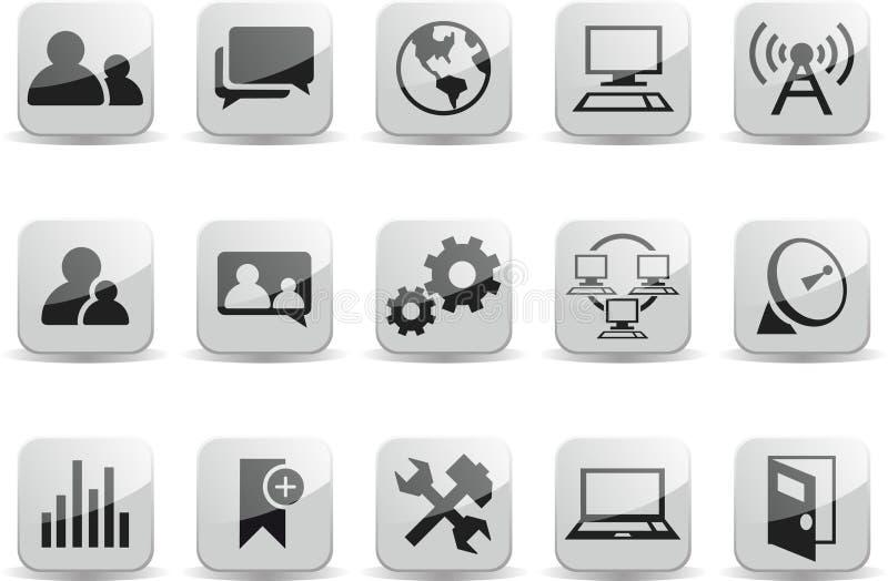 Lucentezza in bianco e nero sociale della rete di comunicazione illustrazione di stock