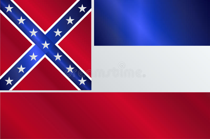 Lucentezza della bandiera dello stato del Mississippi illustrazione vettoriale