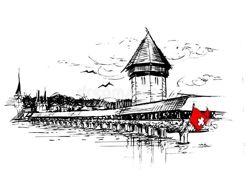 Lucern, Switzerland vector illustration