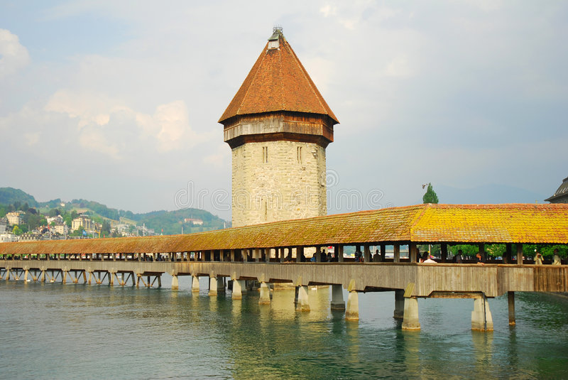 Lucerne. Chapel Bridge & Water Tower from 14th century - Lucern in Switzerland royalty free stock photography